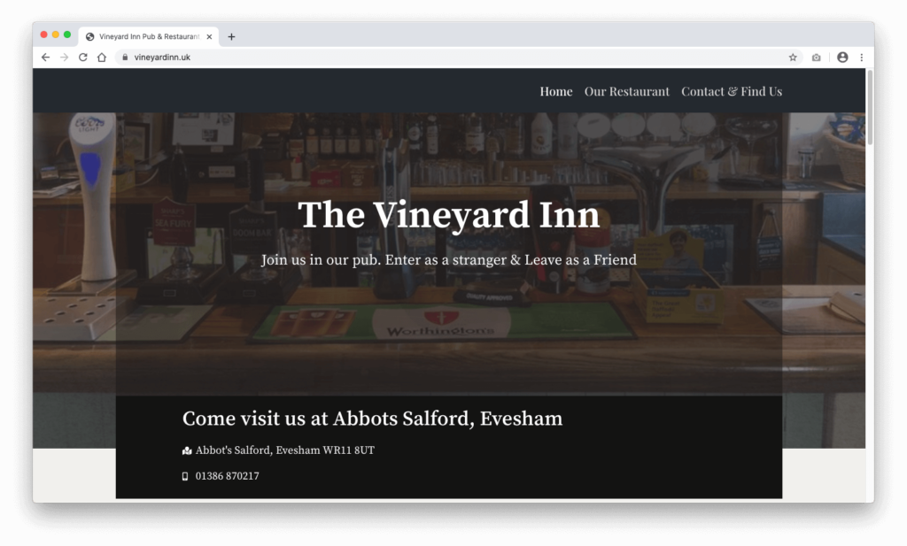 Vineyard Inn Evesham Website