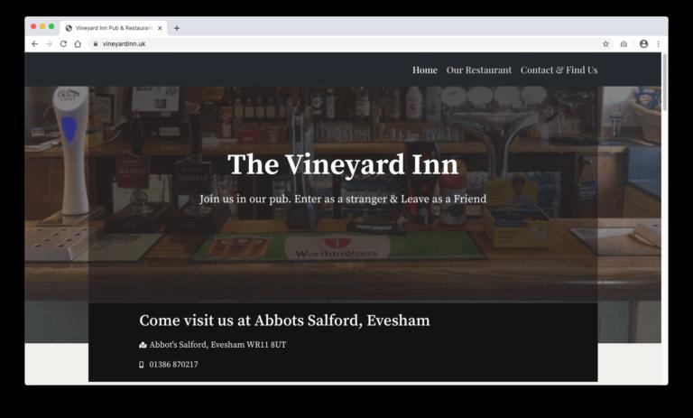 Vineyard Inn Evesham Website