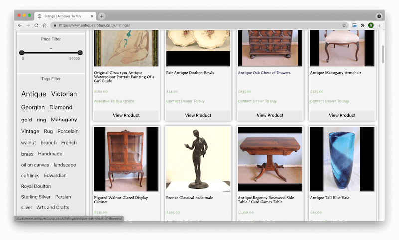 Antiques for sale on a brand new antiques platform