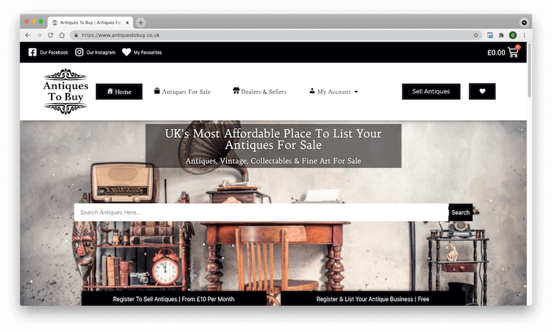 Sell antiques online using a brand new platform
